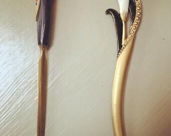 2 vintage brass letter openers handpainted