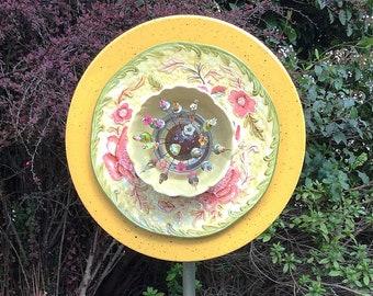 Glass Garden Plate Flower- Mellow Yellow and Pink