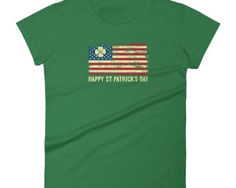 Happy St Patricks Day American Flag Four Leaf Clover Star Gift Idea Novelty Women's short sleeve t-shirt