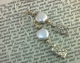 White Coin Pearl Earring with Sterling Silver Lotus Flower Earrings
