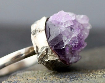 Amethyst Crystal Specimen in Reticulated Sterling Silver Ring- Reserved