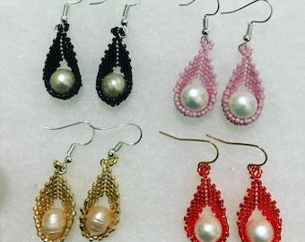 Miyuki Caged Pearl Earrings