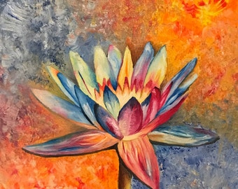 Water Lily Fine Art Giclee Print on Canvas Wall Art Abstract Nature Wall Decor
