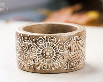 Wooden wide bracelet, Boho bangle, Wood painted bangle, Beige, Bohemian floral bangle, Eco jewelry, Wood jewelry