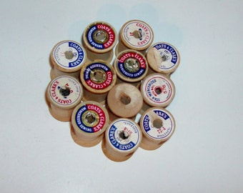12 Empty Wooden Spools