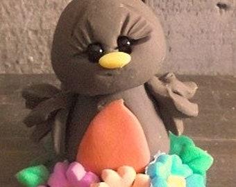 Robin Spring Bloomer polymer clay figurine