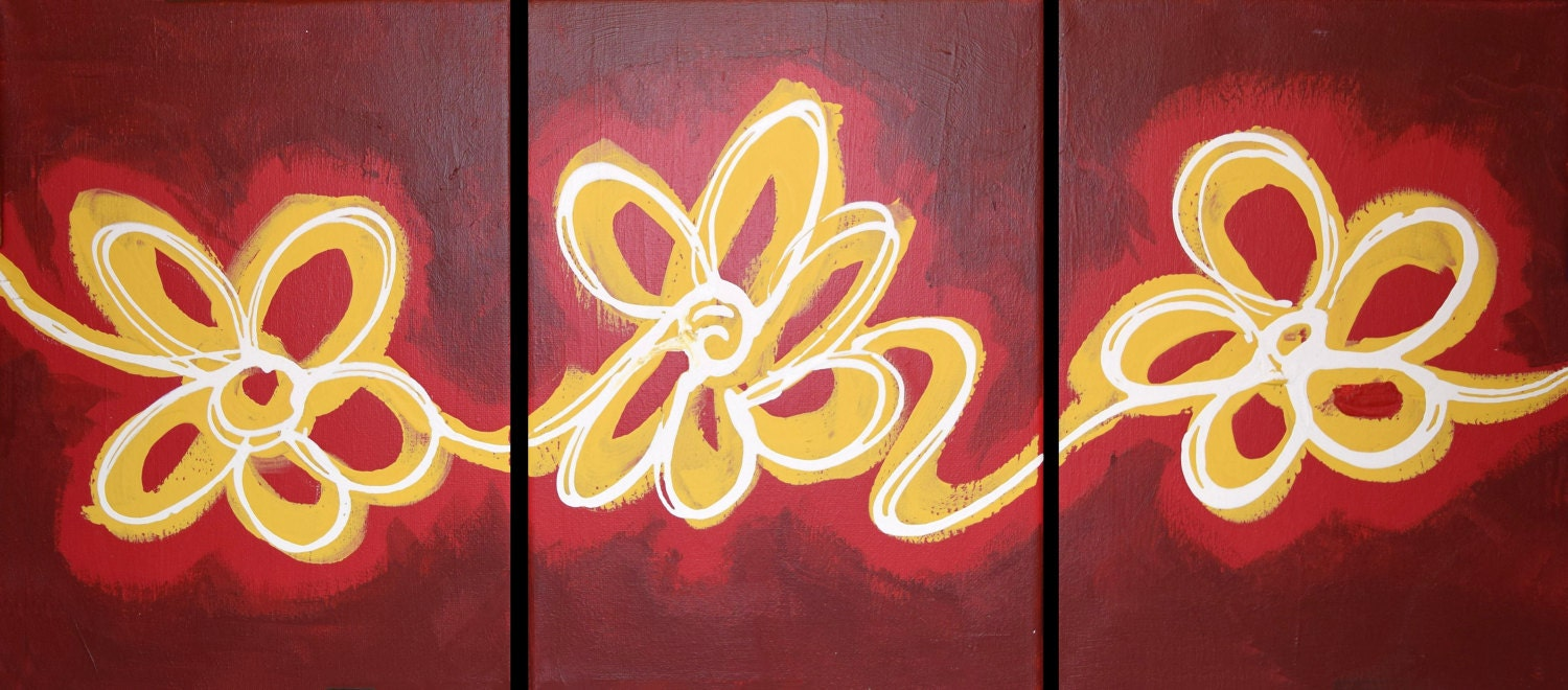 extra Wall triptych art floral delight red edition