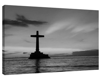 Holy Cross Sunset Island Black and White Canvas Picture also in Colour or Sepia Brown