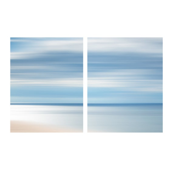 Water Abstract, Beach Set of Two Photos, Coastal Home Decor Art, Large Wall Art, Nautical Image, Sea and Sky Photo, Beach House Art