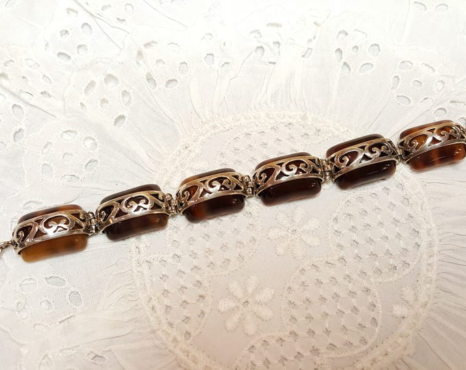 Sterling Silver and Faux Tortoise Shell Link Bracelet Vintage 1990s