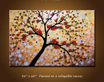 "Extra Large Wall Art Extra Large Abstract Tree Painting ... 36"" x 60"" ... ""Time to Blossom"", Free US shipping"