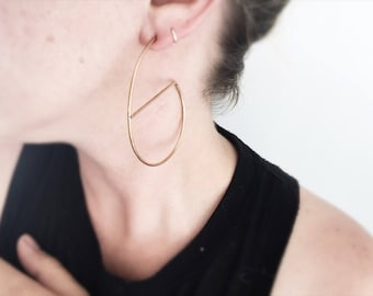 Ellis Hoops - Modified Open Post Hoops in Brass, Copper, Silver, Blackened Silver, Gold Filled, or Rose Gold Filled