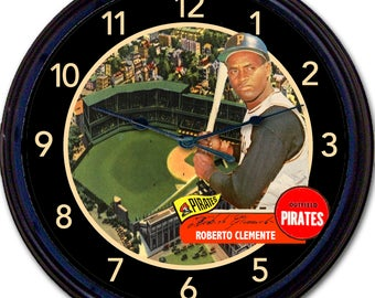 "Roberto Clemente, Pittsburgh Pirates, Pittsburgh, Baseball, Baseball Card, Wall Clock, Forbes Field, MLB New 10"""