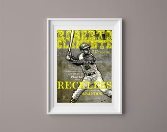 ROBERTO CLEMENTE Baseball Art Print - Drawing, Home Decor, Sports, Gift for Him, Gift for Home, Wall Art, Pittsburgh Pirates, MLB
