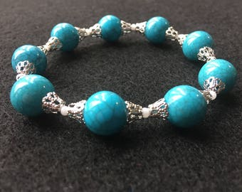 Teal & Ornate Silver Beaded Stretch Cord Bracelet - Beaded Stretch Cord Bracelet