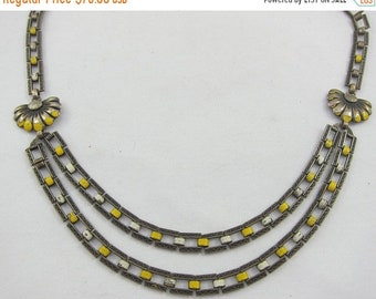 ON SALE Art Deco Very Ornated Silver Plated Yellow White Enamel Flower Double Necklace