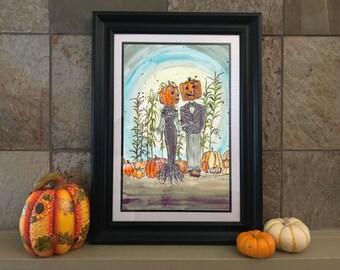 Jack and Sally | Nightmare Before Christmas | Trick R Treat | Halloween Decor | Tim Burton Poster | Wall Art October Birthday | Halloween