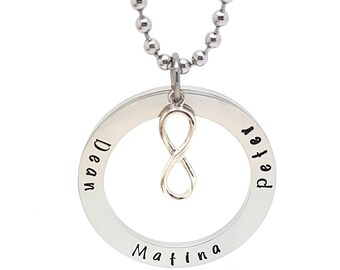 Personalised Jewellery, Personalised Necklace, Family Necklace, Hand Stamped Circle Silver Pendant with Sterling Infinity Symbol & Necklace