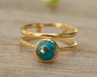 Copper Turquoise Ring * Gold Vermeil Ring * Gemstone Ring * Turquoise Ring * Blue * Handmade * Modern * Boho * Gold Ring * Hippie BJR033