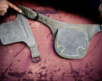 Grey olive leather belt bag, leather pouch bag, leather bag for women