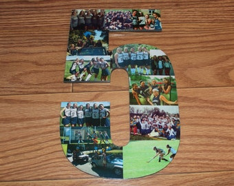 "Personalized Sports Team Number, Personalized Sports Gift, Keepsake Sports, Wall Hanging Photo Collage, 13"" Wooden Number"