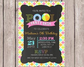 PRINTABLE- Pool Party invitation- Birthday pool party invite- Summer pool invitation- 5x7 JPG