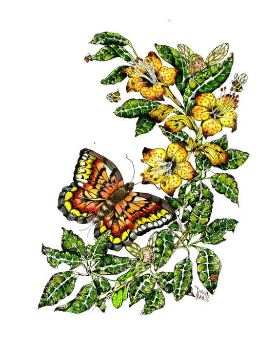 Fairy butterfly Art Fantasy Print , Childrens Room Art , Watercolor Print
