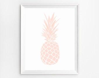 Pineapple printable, Coral Decor, Pineapple Artwork, Wall Art Print, Printable Kitchen Decor, Kitchen Wall Art, Pineapple Print, Artwork