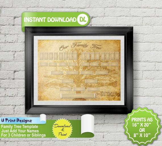 5 Generation Blank Custom Printable Family Tree 3 Children
