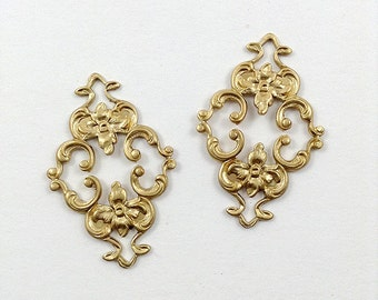 4 pcs. Raw Brass Filigree, Brass Diamond Filigree, Flower Connector, Brass Stamping, Cabochon Wrap, 23mm x 36mm (r130)