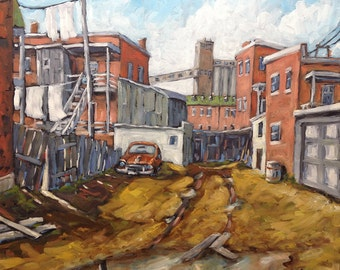 Back Alley Montreal - Original Oil painting - Montreal Urban Scene created  by Prankearts