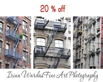 New York apartment art photography set of 3 prints, SoHo New York buildings, New York City art, NYC urban wall decor, fire escape ladder