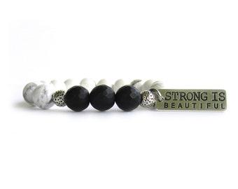 Strong Is Beautiful Bracelet - Beaded Bracelet - Gemstone Bracelet - Inspiring Bracelet - Gift for Her - Inspiration Jewely for Women - W221
