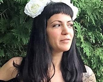 BRIDGET  Full Bloom Huge White Roses Head Piece