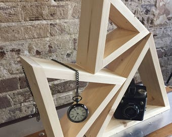 Triangle shelf - triangle home decor - geometric shelf - minimalist home decor - wood shelf