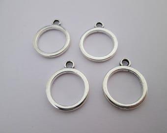 4 breloque cercle géométrique en métal argenté 19 x 16 mm