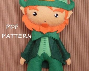 PDF sewing pattern to make a felt leprechaun.