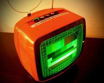 """Hi-T. V: Bluetooth speaker, Bluetooth lamp and cell phone charging-vintage TV """"Indesit MoD. 12LI """"Anni ' 70-Made in Italy"""