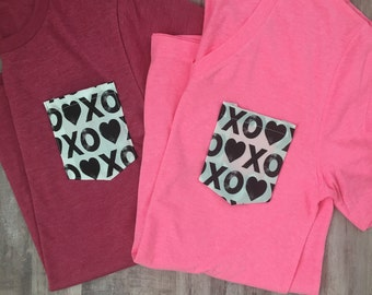 Valentines Day Tshirt, Pocket tee, XOXO pocket tee