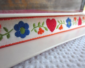 Vintage Woven White Trim with Red Heart Blue floral Orange Trim Sewing Supply