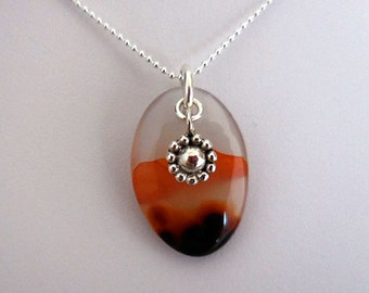 Agate Necklace, Agate Pendant Necklace, Sterling Charm, Sterling Bead Chain, Sterling Jewelry, Earthy Pendant Necklace, Minimal Jewelry