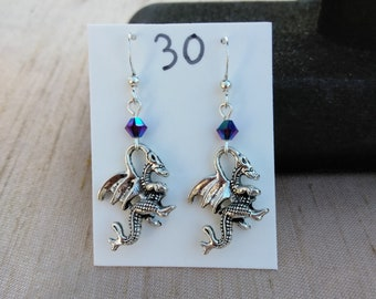 Little Dragon Earrings with Crystal Accent