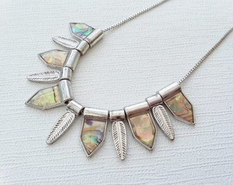 Abalone Bib Necklace Mother Of Pearl Leaf & Geometric Dangling Beads Silver Tone Fine Chain Understated Elegance