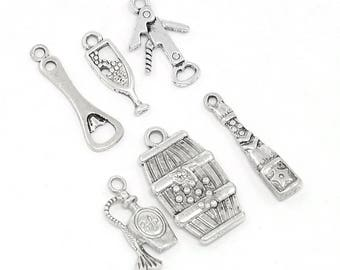 6 pcs. Silver Tone Wine Charms Pendants with Jump Rings- 17mm- 25mm - Variety - Assortment - Mix - Set A