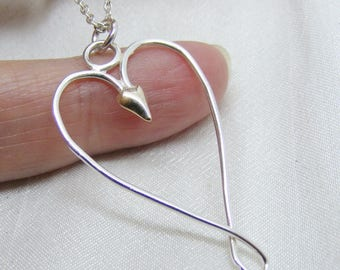 Delicate Silver and gold heart pendant, mixed metals, handmade jewelry