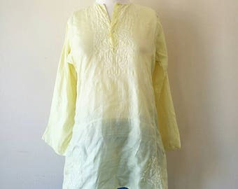 Vintage Indian silk hand embroidery lemonade yellow tunic blouse