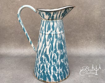 Large Vintage French Enamel Water Pitcher Jug - Beautiful blue and white swirled enamelware.