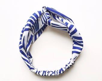 Phyllis Fabric Headband - Turban headband - Tiki Stripes - Boho headband - Womans headband - Adult headband - Blue headband- Cobalt headband