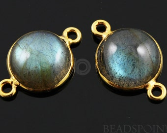 Natural Labradorite Cabochon, Bezel Connector, 24K Gold Vermeil Over Sterling Silver, Incredible Blue Fire,14mm, 1 PAIR, (LAB003)