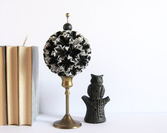 Black and White Paper Star Sculpture - Star Globe Topiary on Brass Pedestal - Origami Kusudama Ball - Paper Anniversary - Modern Home Decor